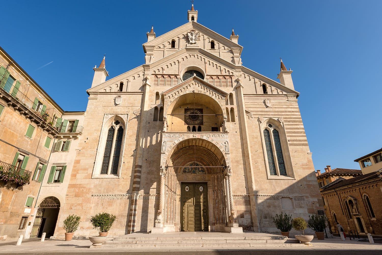 Facade of the Verona Cathedral (Duomo di Verona) in Romanesque Renaissance style (1187 - UNESCO world heritage site) - Santa Maria Matricolare - Veneto Italy Europe