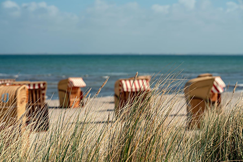 Beach chairs on Fehmarn Island, Germany