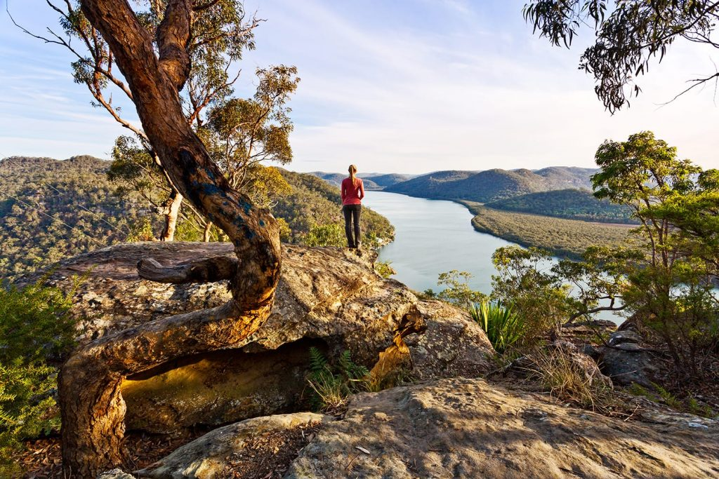 Female hikers overlooking Hawkesbury River in Australia