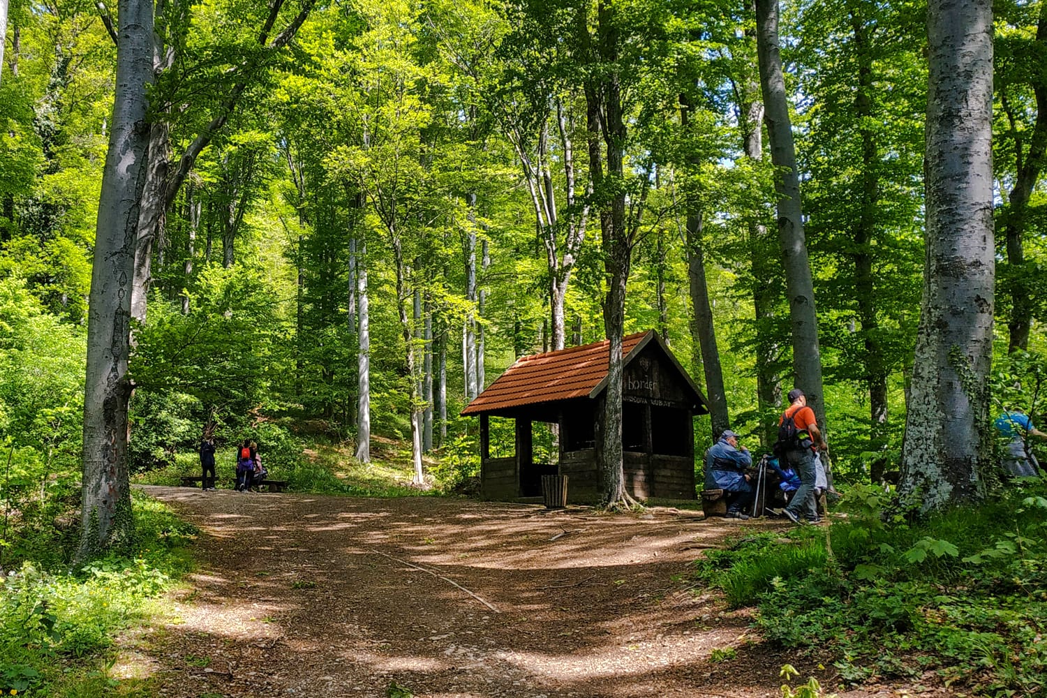 House/hut for resting on a hiking/walking forest road to Sljeme/Medvednica near Zagreb in Croatia
