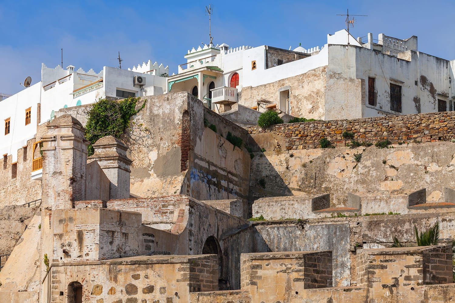 Ancient fortress and living houses in Medina, old Tangier, Morocco