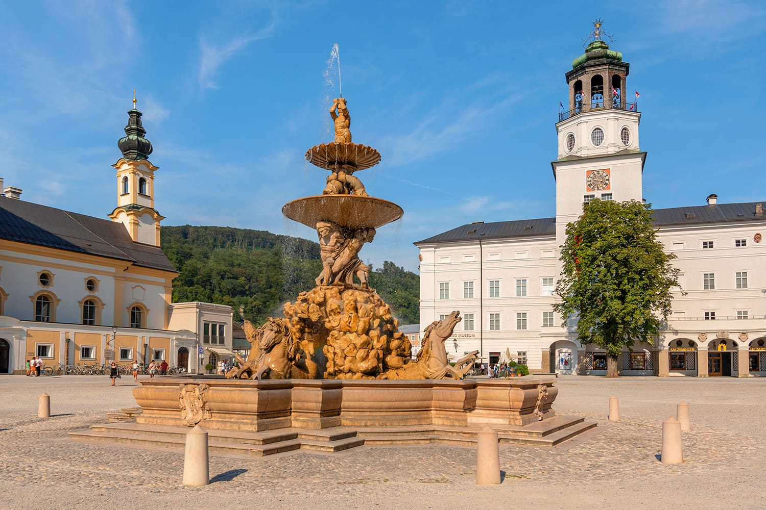 The fountain of Residence square in the old town of Salzburg Austria