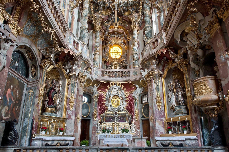 Interior of St. Johann Nepomuk Kirche or Asam Church (Asamkirche) in Munich, Germany