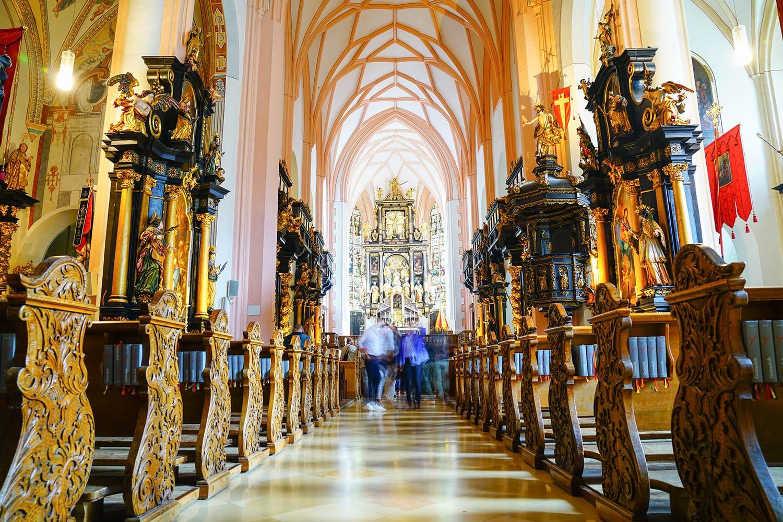 Basilica Saint Michael interior in Mondsee, Austria