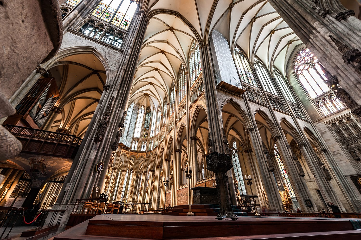 Cologne Cathedral Interior and Stained Glass Windows. Germany