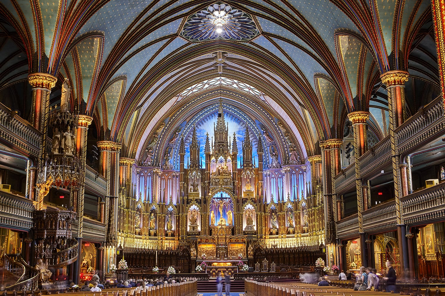 Interior of the Gothic revival Notre Dame basilica in Montreal, Canada