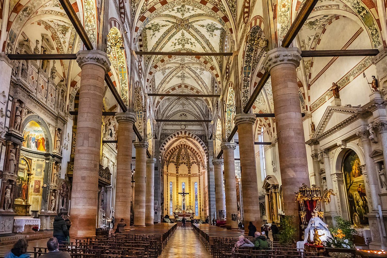 Interior of Gothic Sant'Anastasia Church in Verona, Italy
