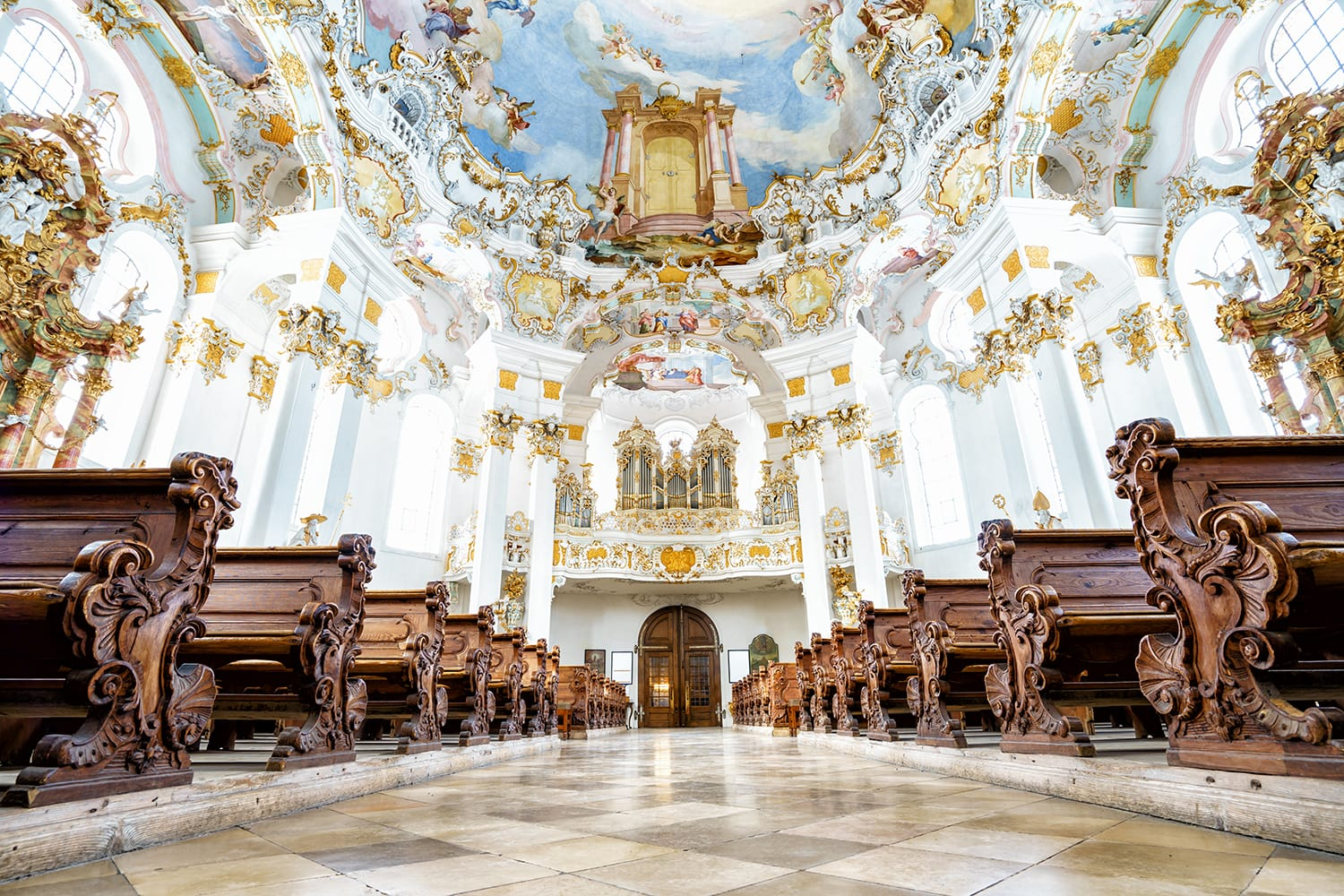 Interior of Wieskirche, Germany.