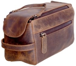 KomalC Buffalo Leather Travel Dopp Kit