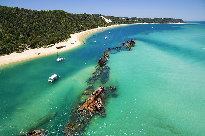 Tangalooma Wrecks near Moreton Island, Australia