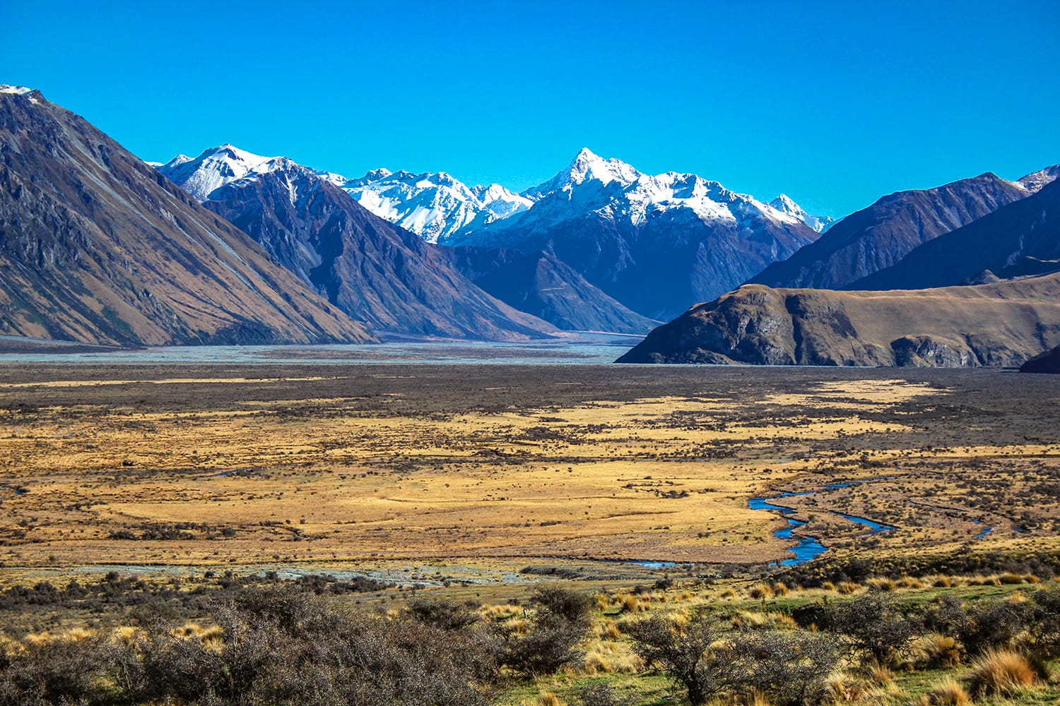 Scenic view of Mount Sunday and surroundings in Ashburton Lakes District, South Island, New Zealand