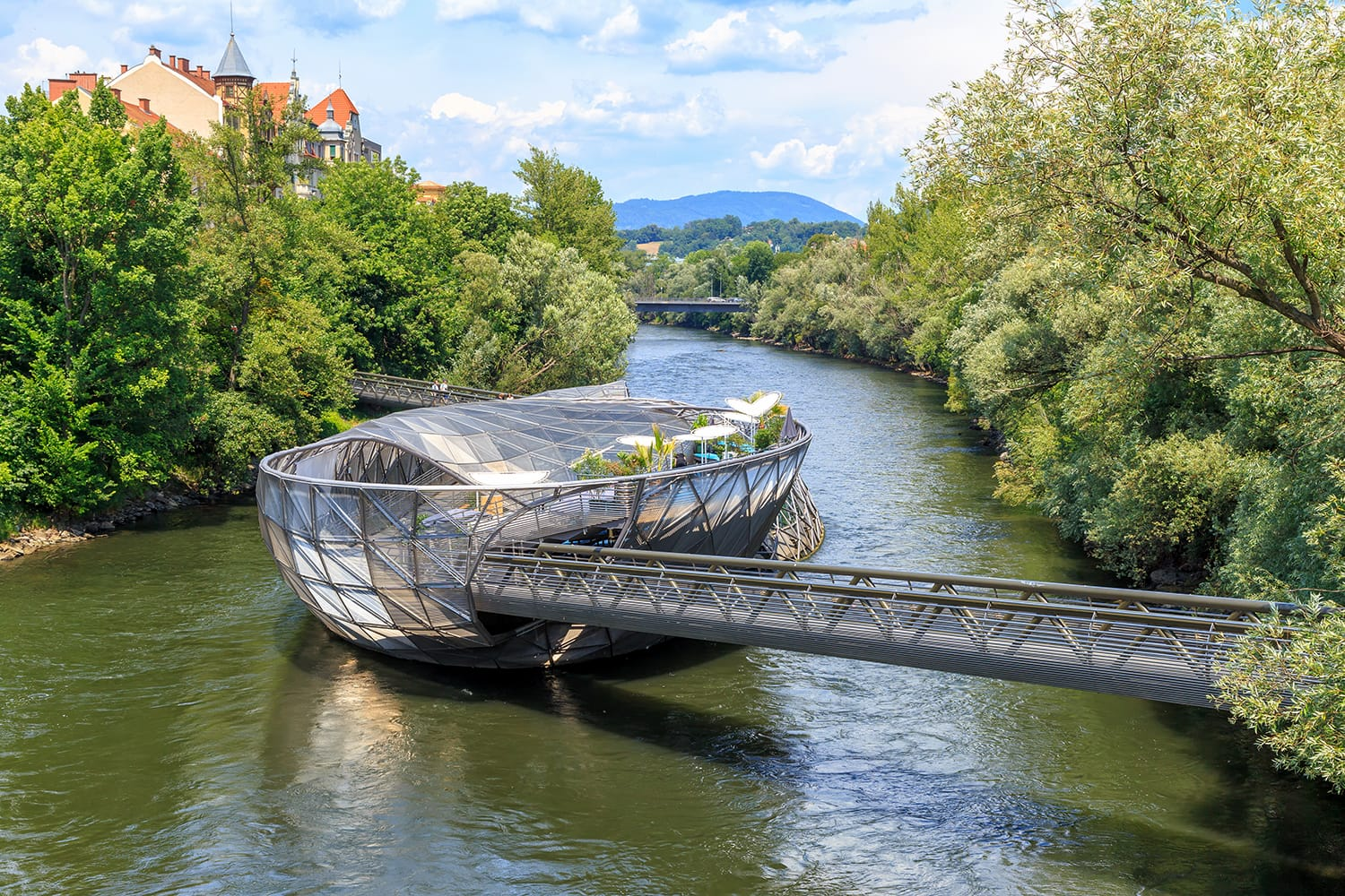 "Island in the Mur - Murinsel is an artificial floating ""island"" in the middle of the Mur River in Graz, Austria"