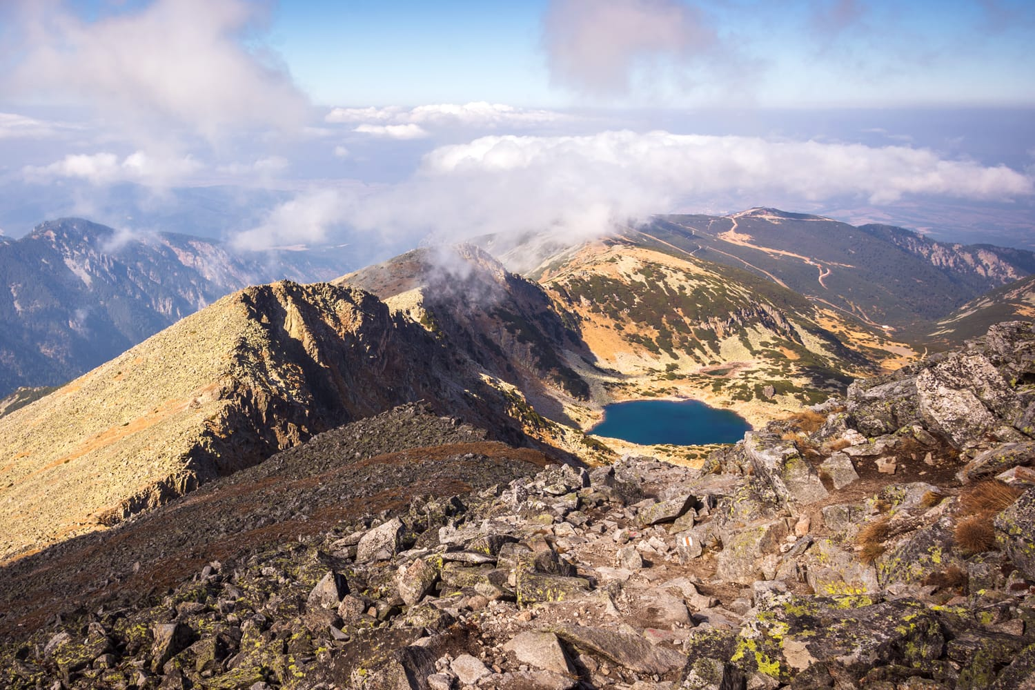 """Breathtaking view of Rila mountain in Bulgaria with highest peak on Balkan """"Musala"""" at 2925m. Rila lakes and surrounding with good weather."""
