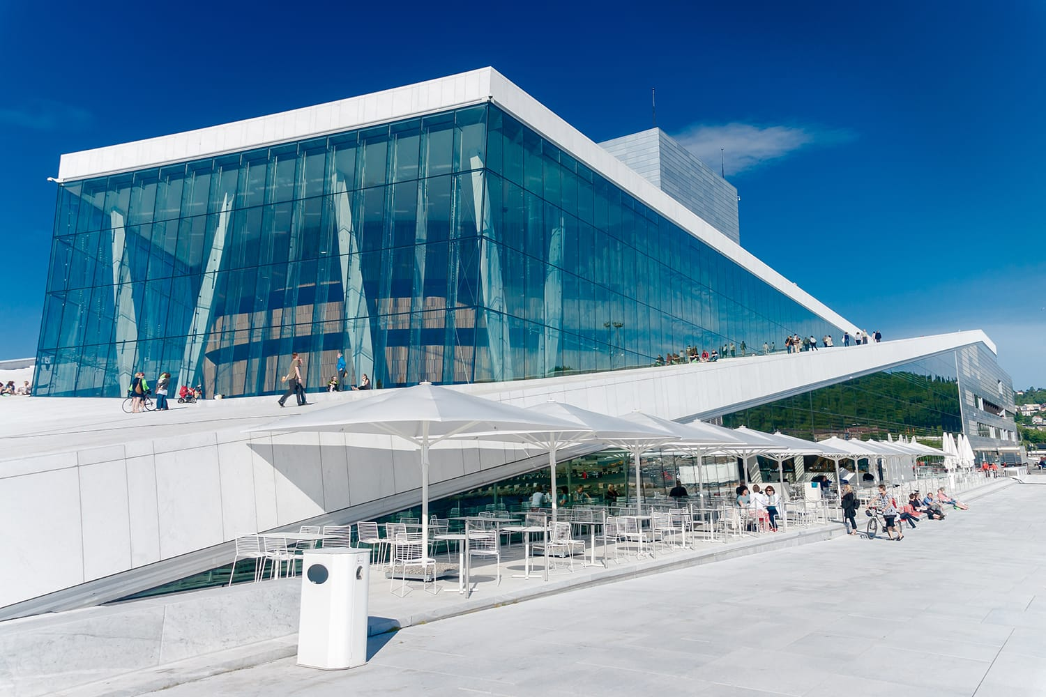 View on a side of the National Oslo Opera House in Oslo, Norway