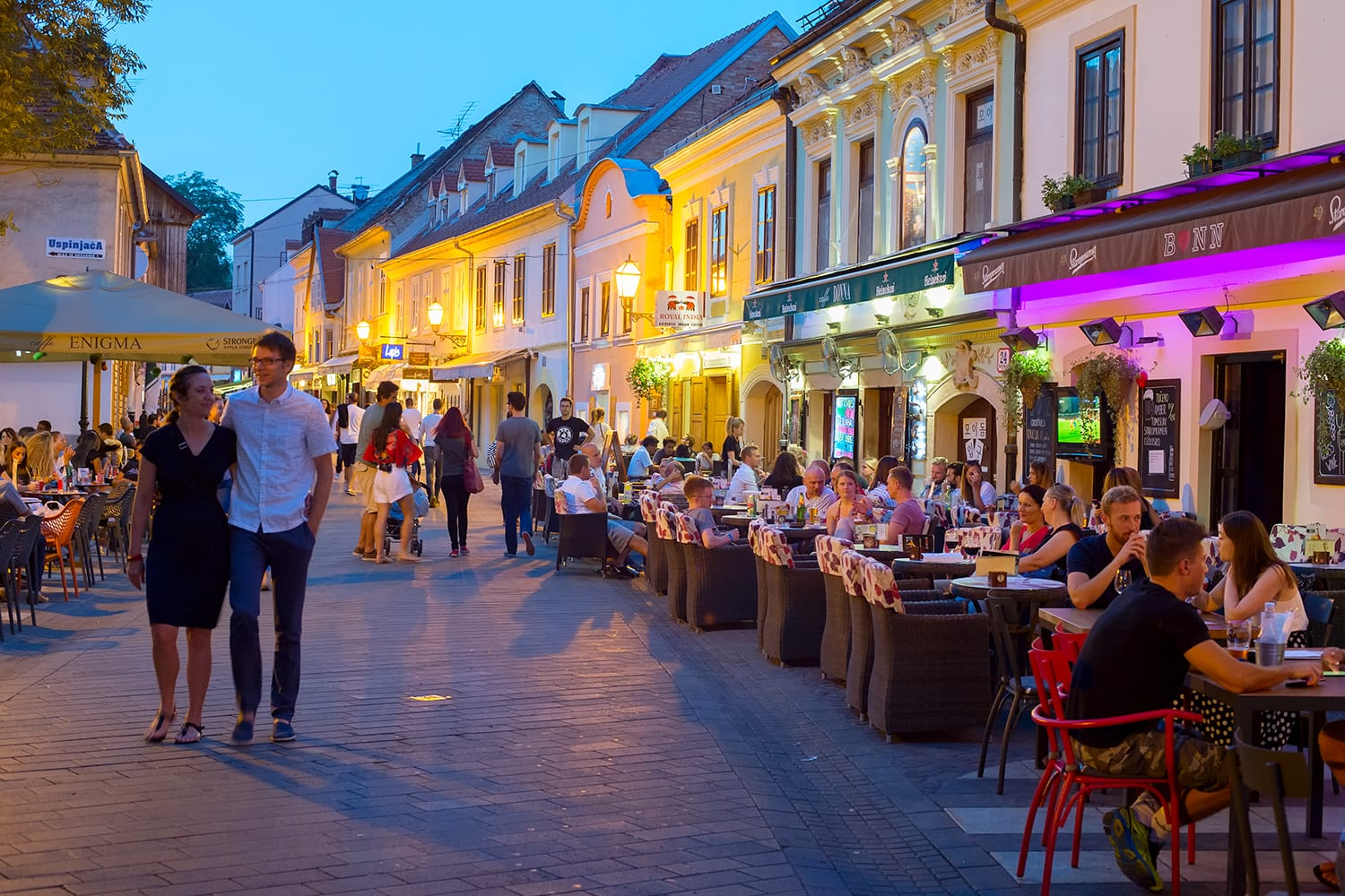 Locals and tourists having a dinner at restaurants at Ivana Racica street in Zagreb, Croatia