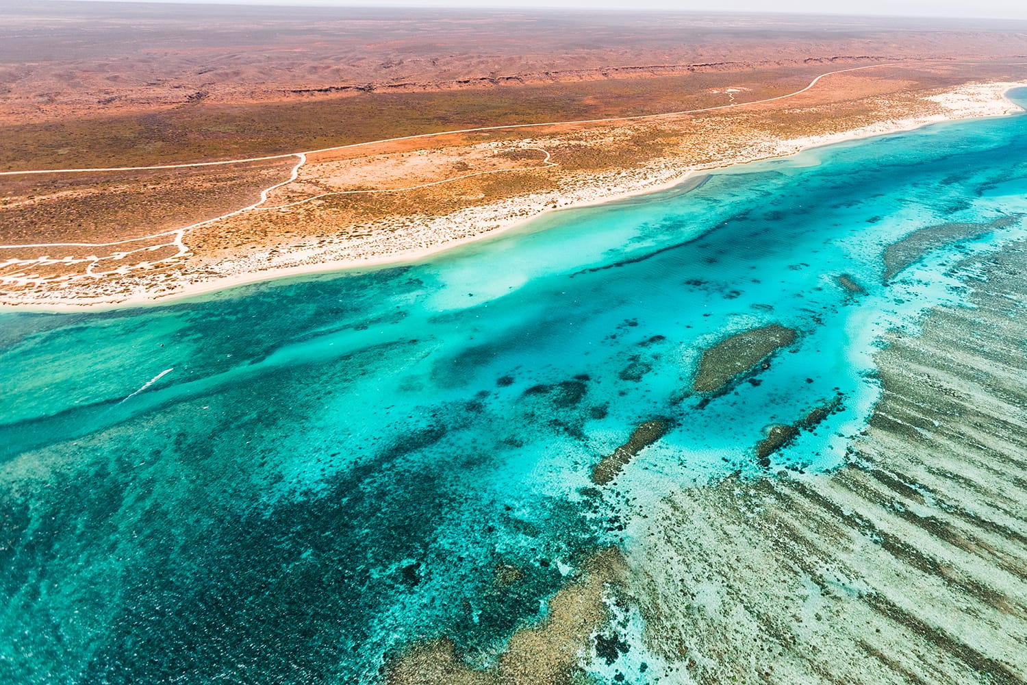 Aerial view of the Ningaloo Reef in Exmouth, Australia