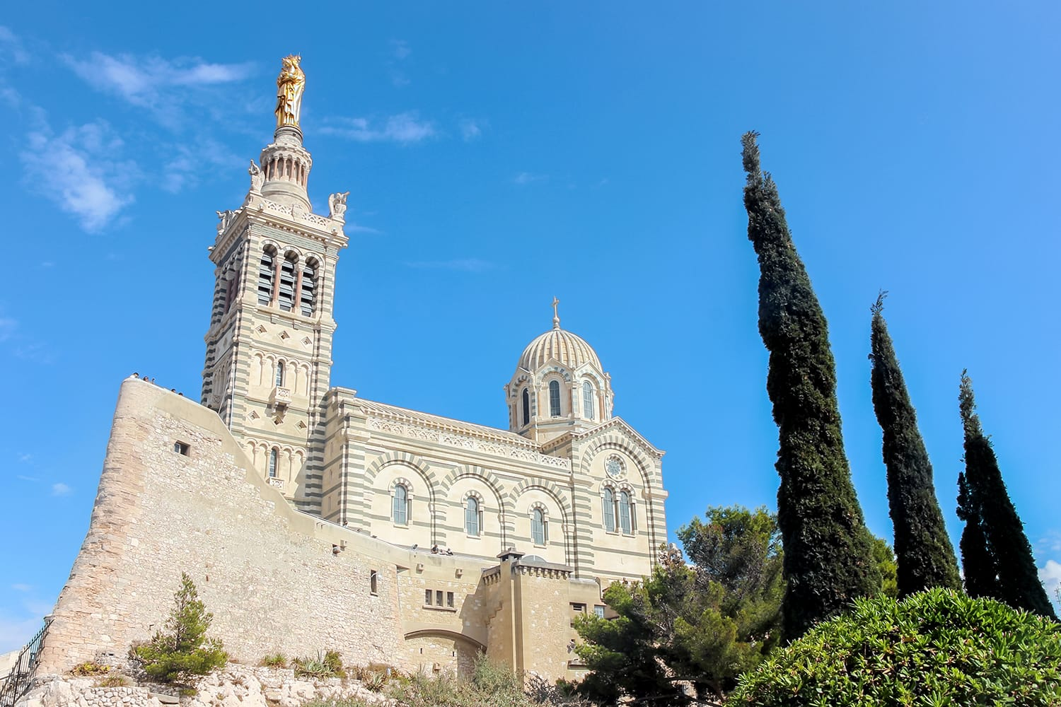Exterior of Basilique Notre-Dame de la Garde in Marseille, France