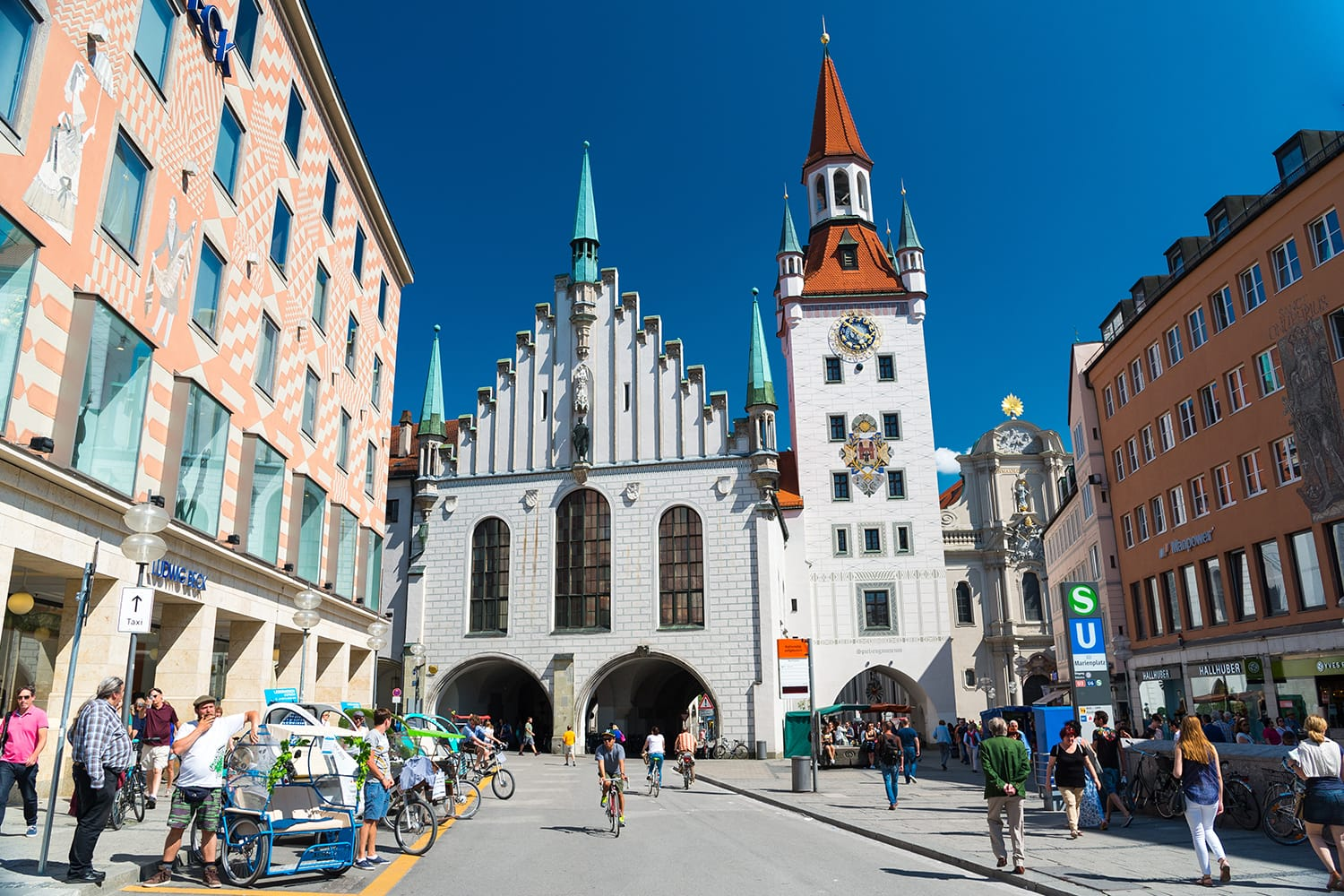 The Old Town Hall located on the Central square of Munich, Germany