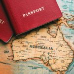 Two passport on a map of Australia