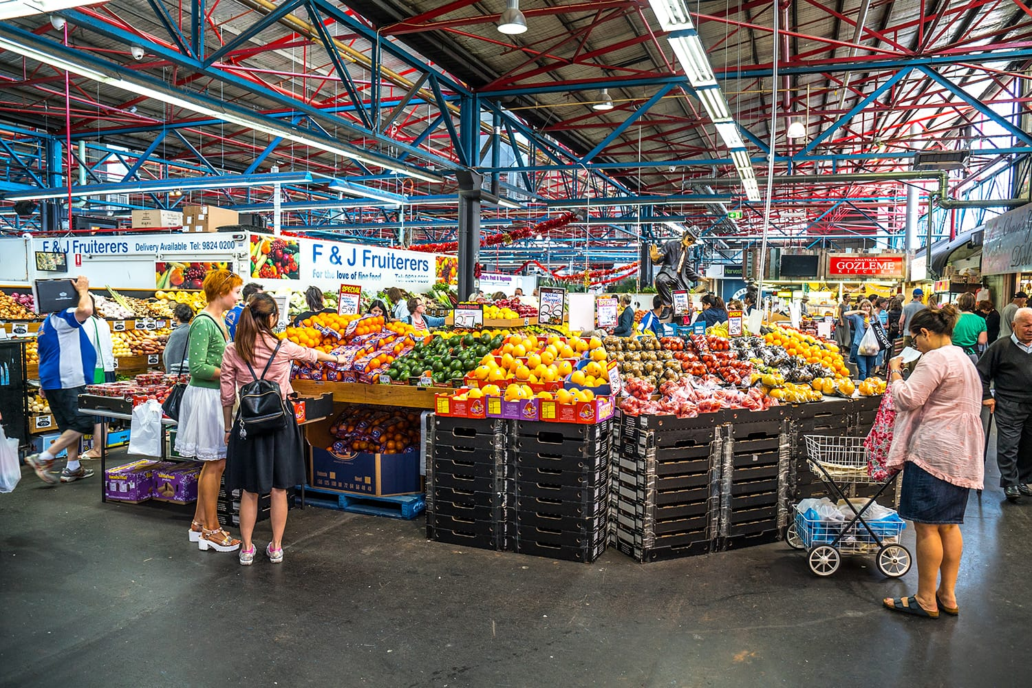 People shopping at the Prahan Market in South Yarra, Melbourne, Australia