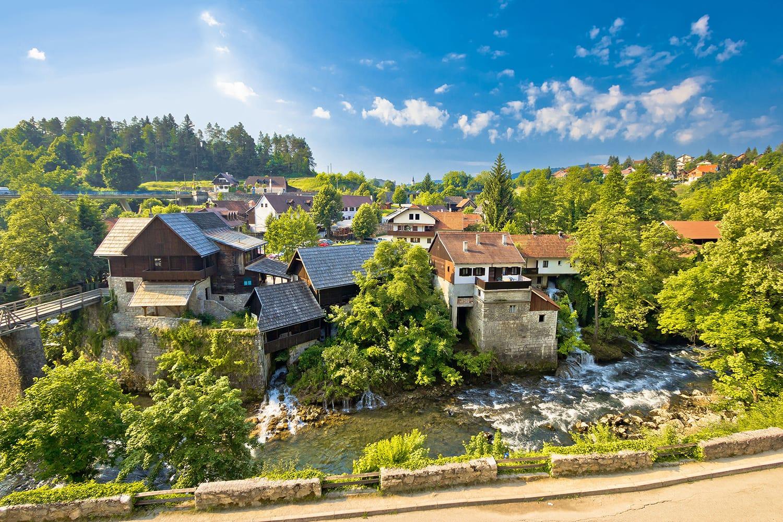 Rastoke village in green nature on Korana river, Croatia