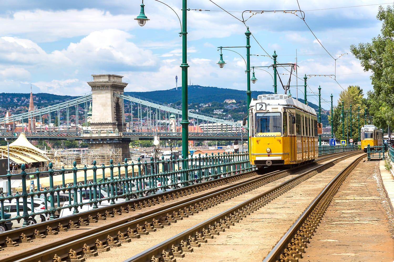 Retro tram in Budapest, Hungary
