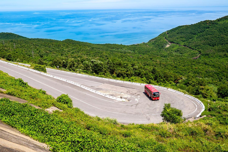 Road leading through the Hai Van Pass in Vietnam