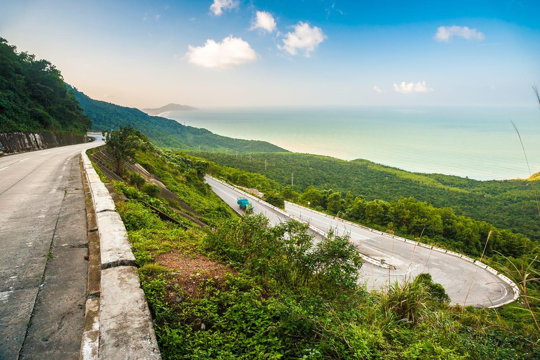 Hai Van pass - the famous road which leads along the coastline mountains near Da Nang city, Vietnam
