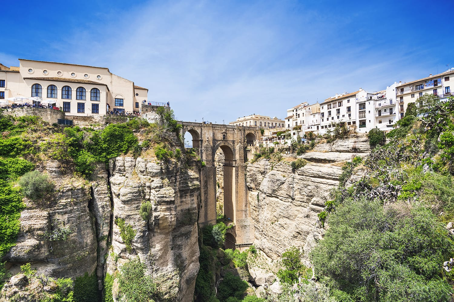 View of Ronda village, one of the famous white villages (Pueblos Blancos) of Andalucia, Spain
