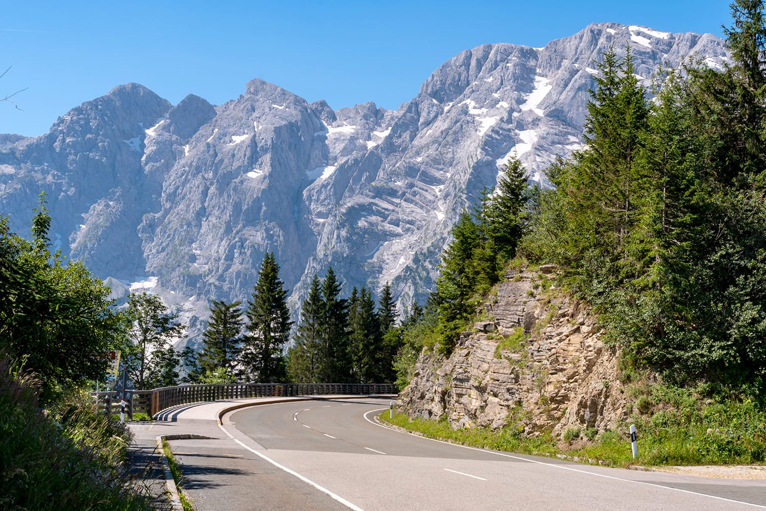 Rossfeld Panorama Strasse Alpine pass road in Berchtesgaden National Park in Bavaria, Germany