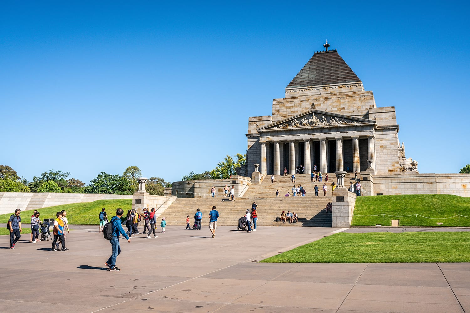 View of the Shrine of Remembrance with people and tourists in Melbourne Victoria Australia