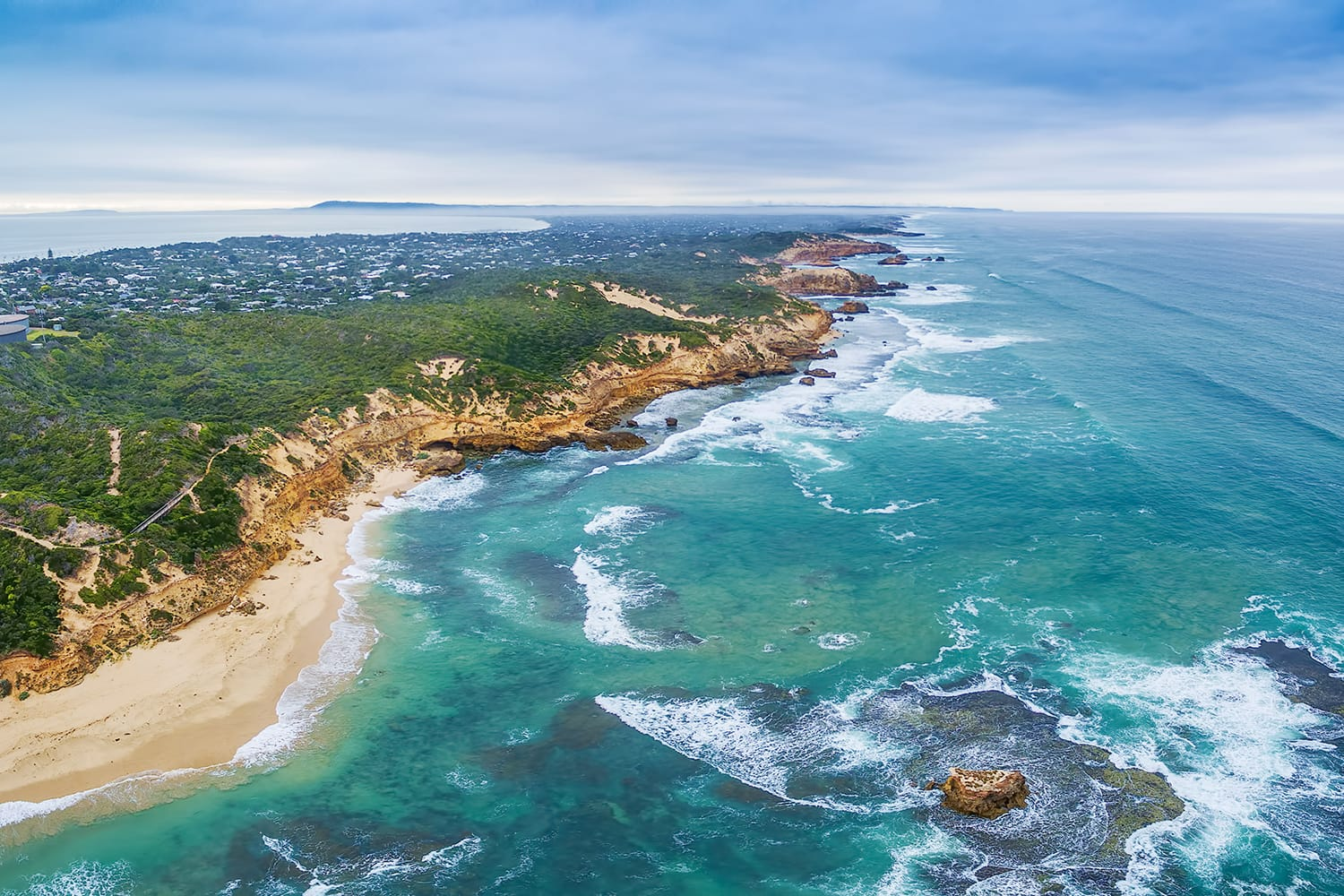 Aerial panorama of Sorrento Back Beach and coastline. Mornington Peninsula, Melbourne, Australia