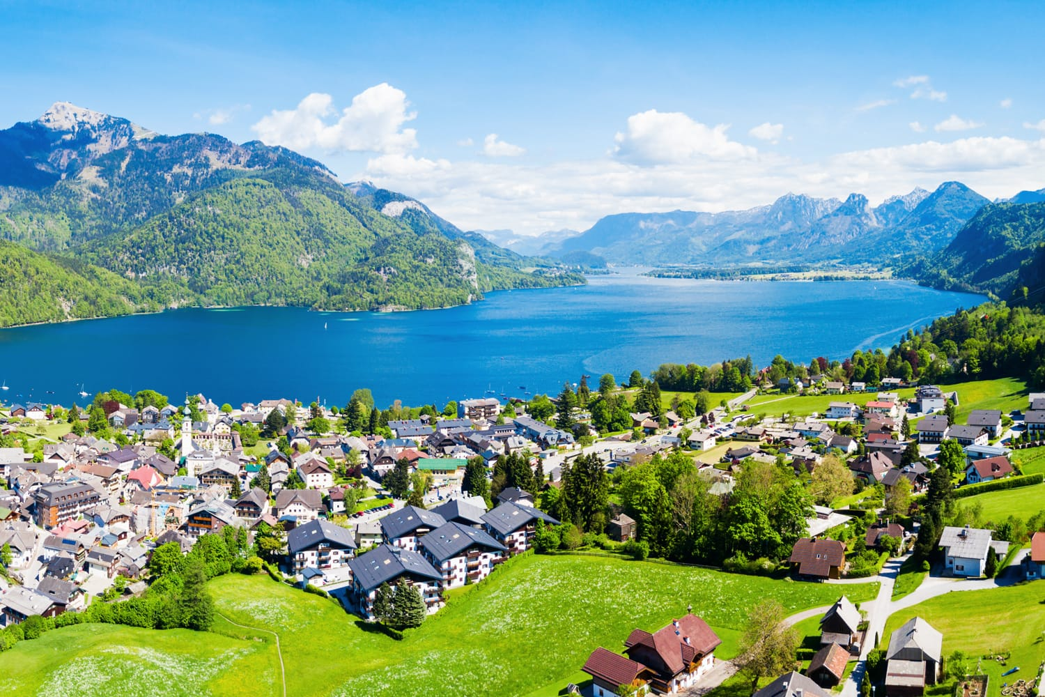 St. Gilgen and Wolfgangsee lake aerial panoramic view in Salzkammergut region in Austria