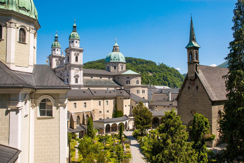 View to Salzburg Cathedral, dedicated to Saint Rupert and Saint Vergilius. Salzburg, Austria