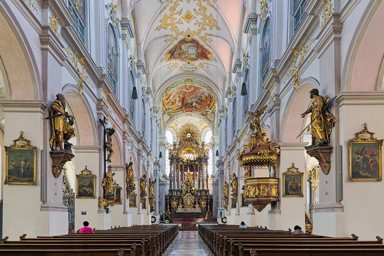 Interior of St. Peter's Church (Alter Peter) in Munich, Germany