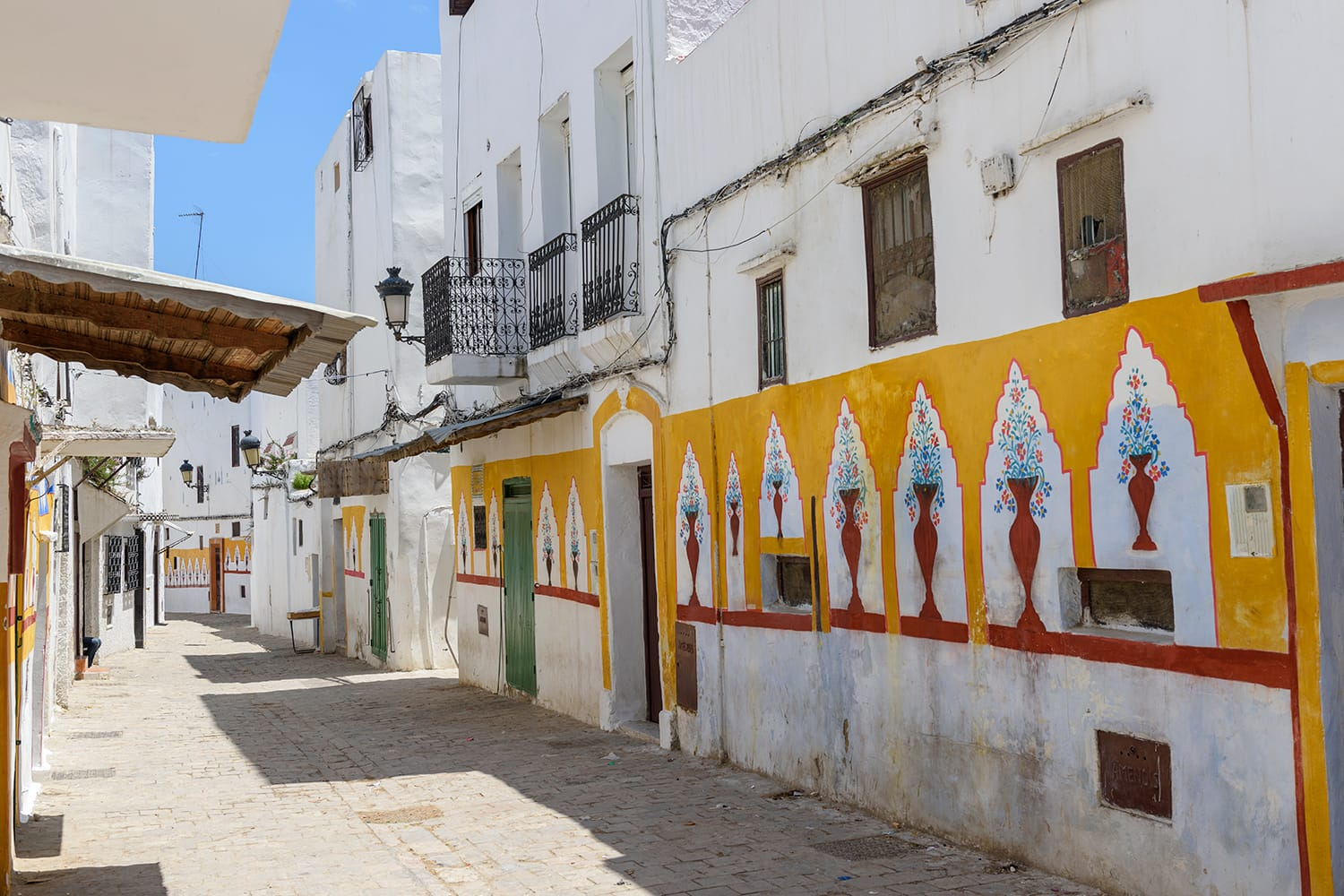 Painted houses in Tetouan, Morocco