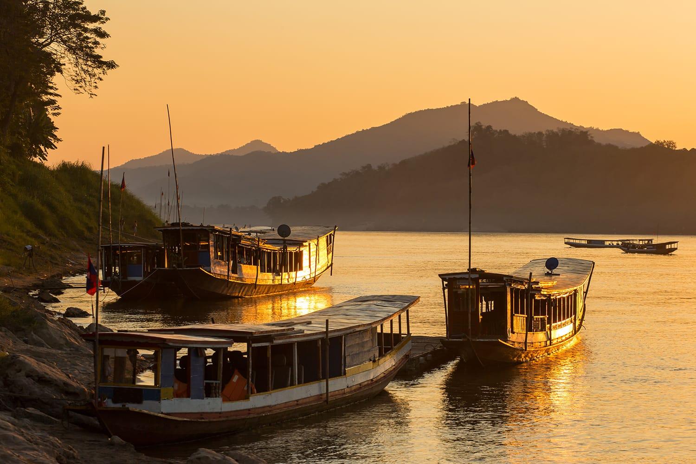 Boats on the Mekong river, Luang Prabang, Laos