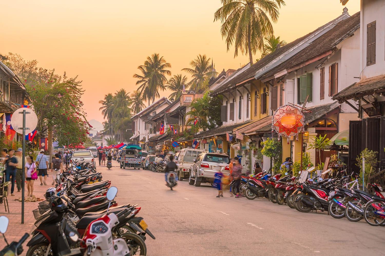 Street in old town Luang Prabang, Laos at sunset