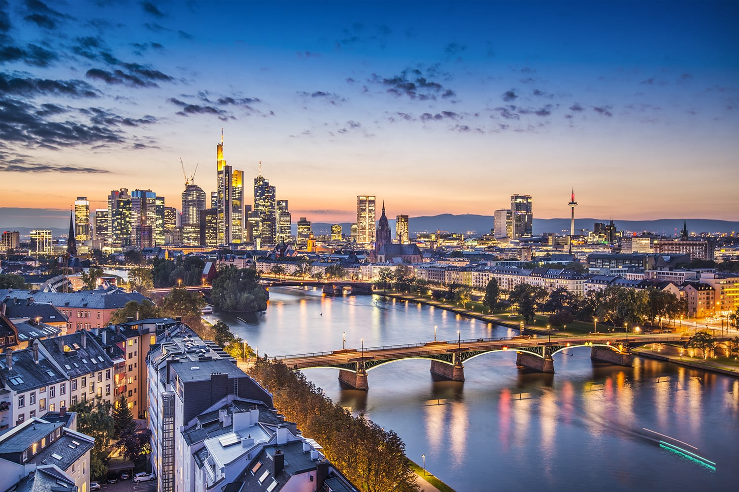 Skyline of Frankfurt, Germany at sunset