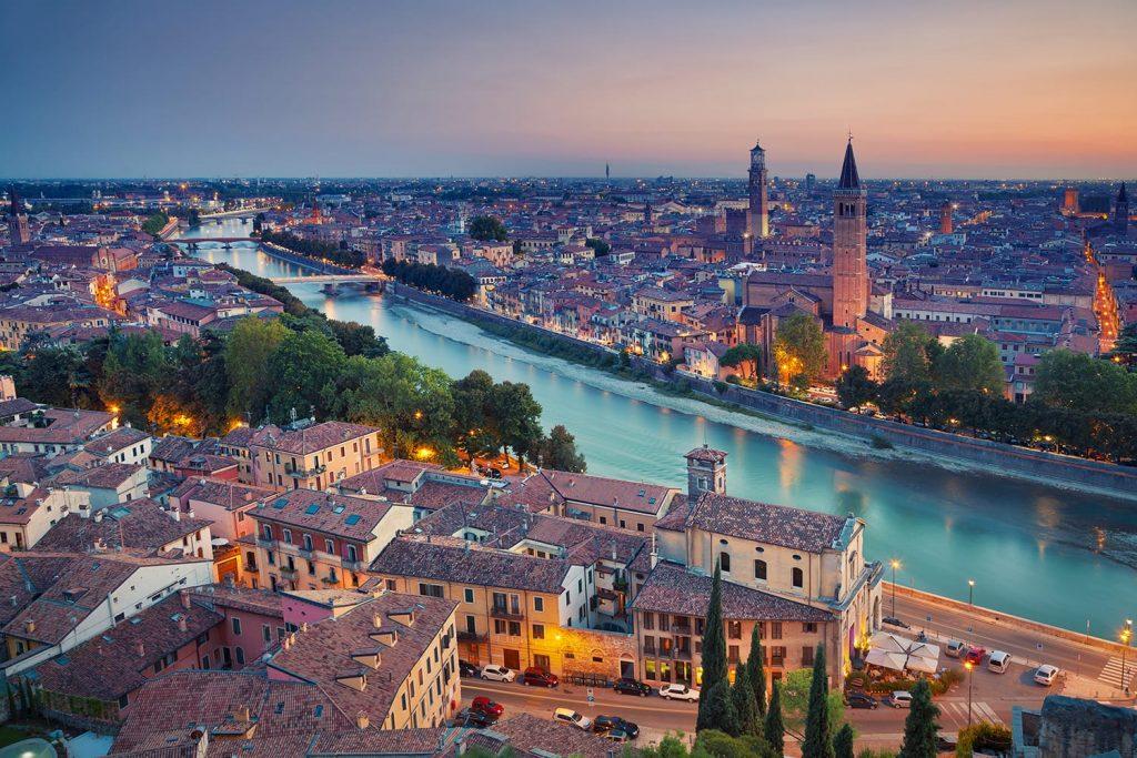 Sunset over Verona, Italy