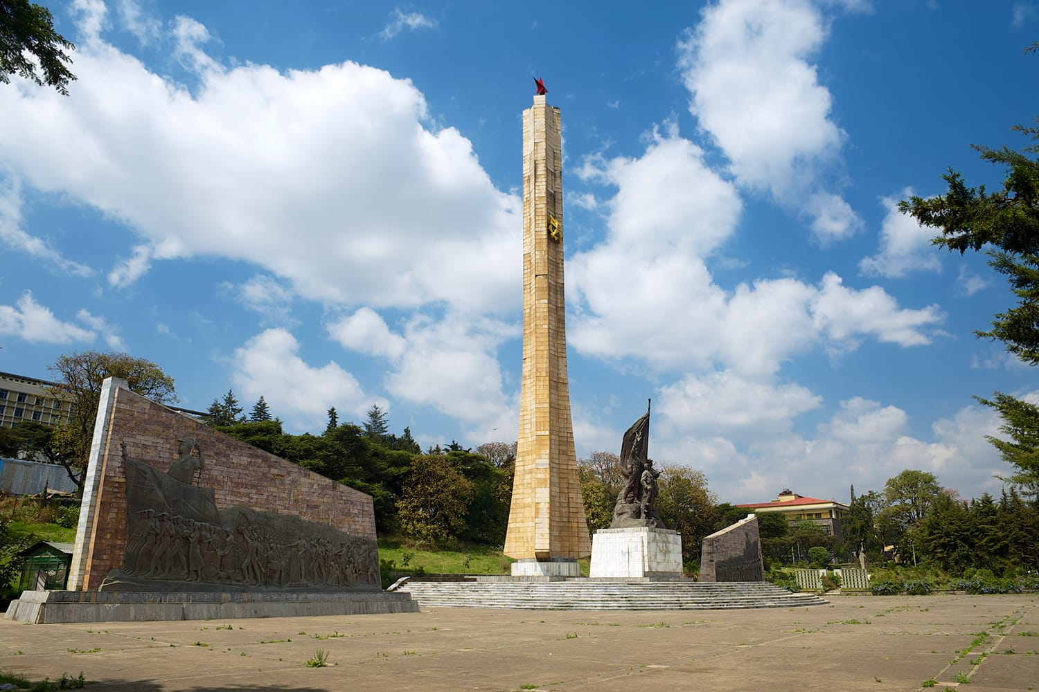 Tiglachin monument (or Derg memorial) for Soviet and Cuban soldiers involved in the Ogaden War in Addis Ababa, Ethiopia.