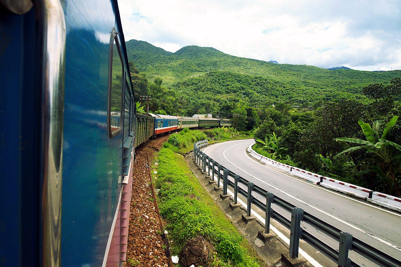 Rail and road running parallel near the Hai Van Pass, Vietnam