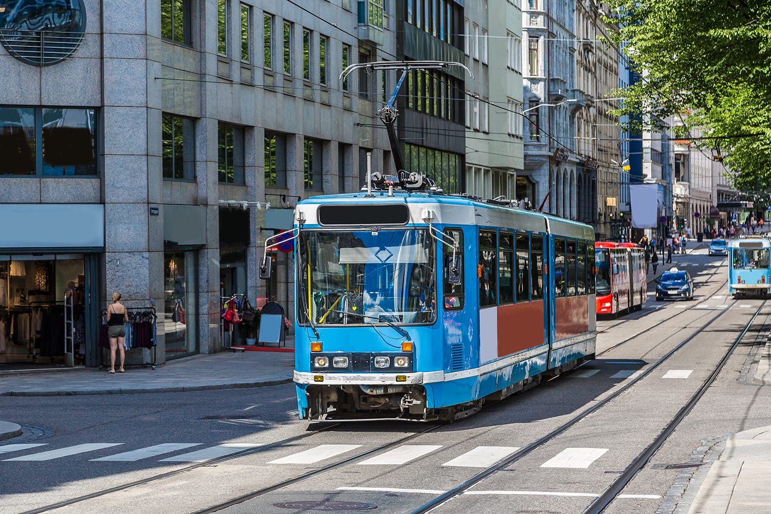 Modern blue tram in Oslo in Norway