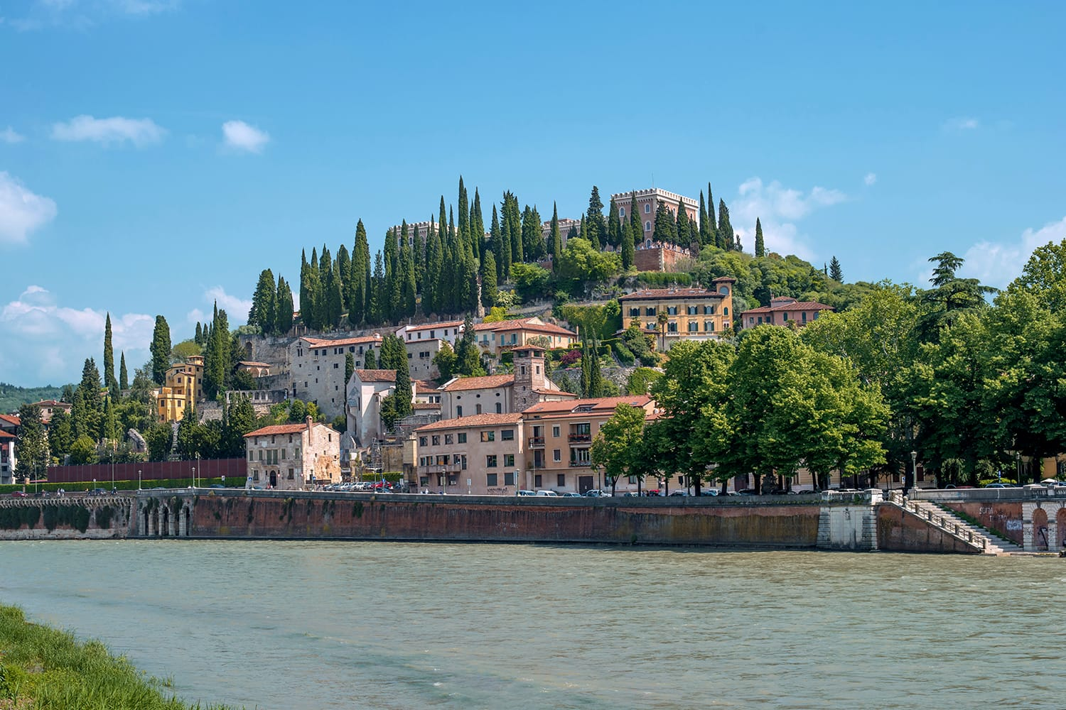 View of the castle of San Pietro in the city of Verona, Italy