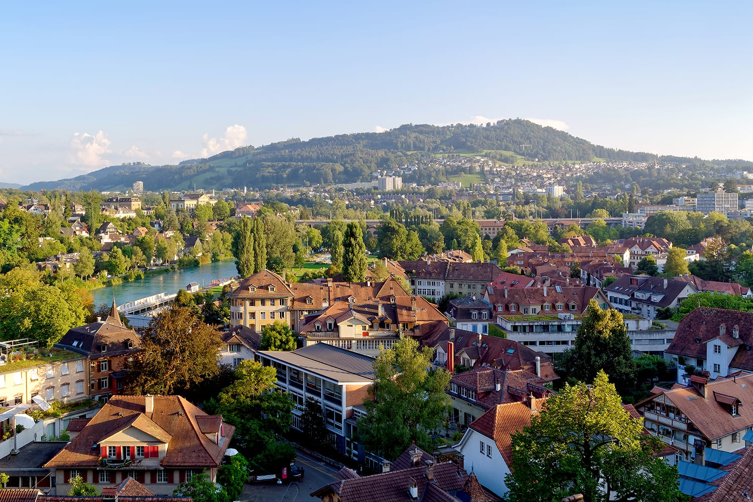 View of mountain Gurten from Bern, Switzerland, in sunny afternoon.