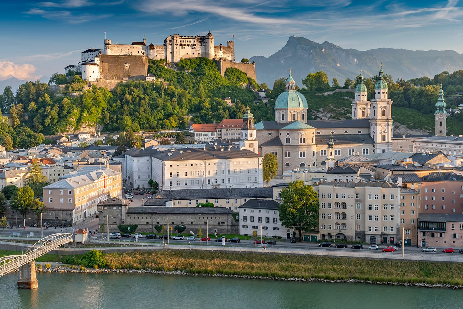 View from the Kapuzinerberg on the old town with Hohensalzburg Castle, Salzburg Cathedral and Collegiate Church, Salzburg Austria.