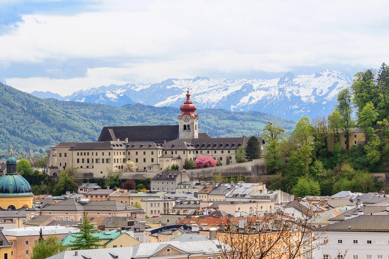 View of Nonnberg Abbey in Salzburg, Austria