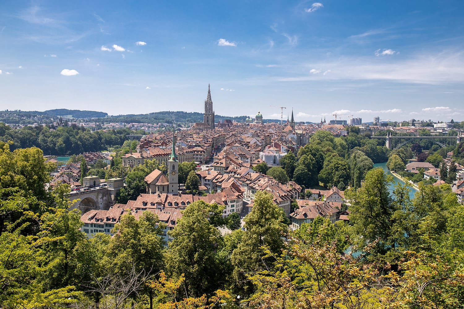 Panorama view of Bern old town from rose garden, Switzerland