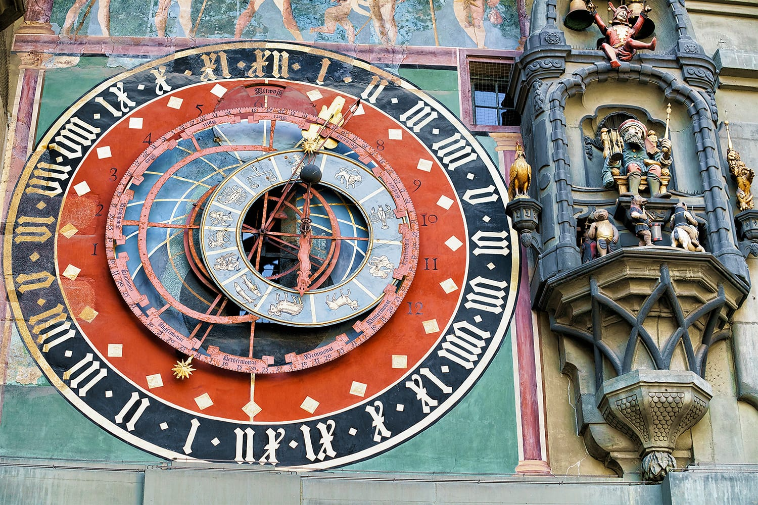 Fragment of Zytglogge clock in old city center of Bern, Switzerland