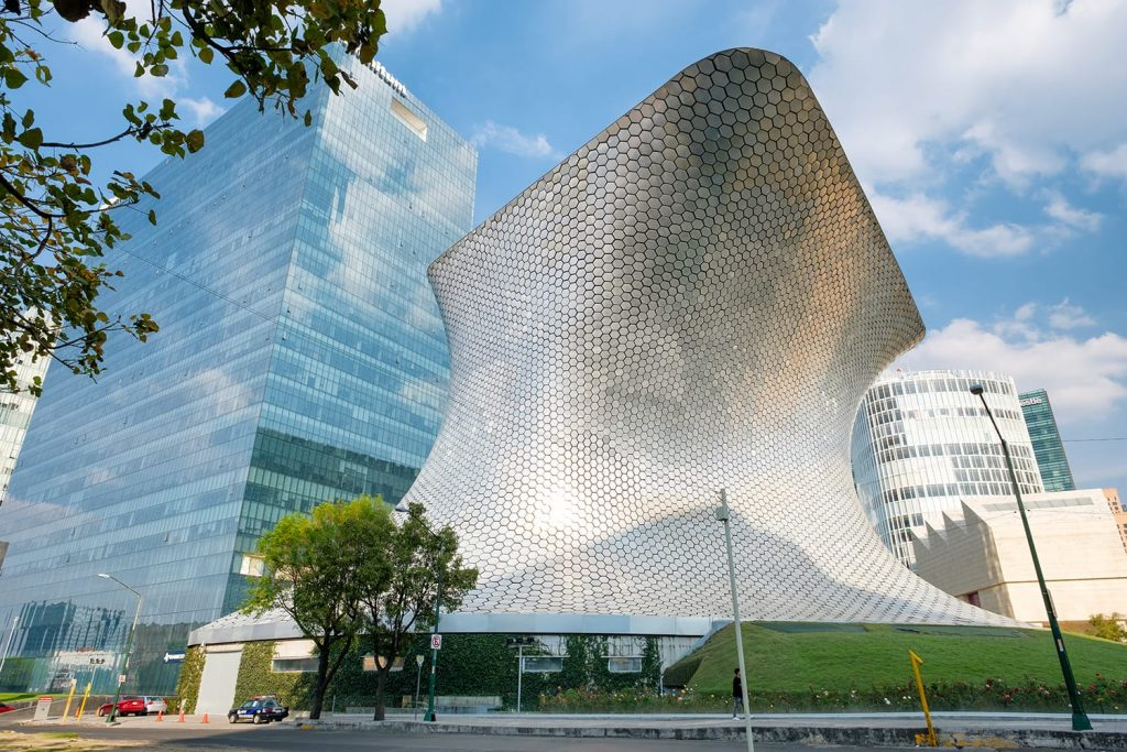 The modern Soumaya museum of art in Mexico City